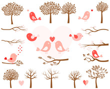 Valentine's Day Vector Set With Pink Birds And Brown Tree Silhouettes And Branches