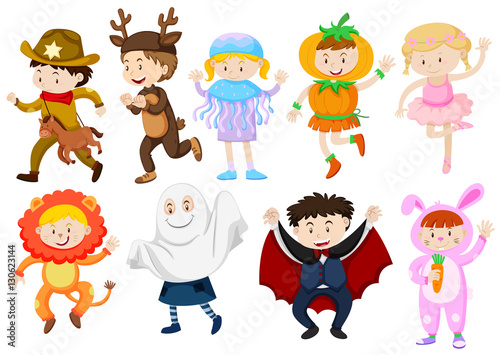 Printed kitchen splashbacks Illustrations Kids wearing costumes for halloween and plays