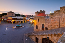 Main Square Of The Old Town Of Rhodes At Dusk.