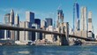 Cityscape of Manhattan and Brooklyn Bridge. Clear autumn day