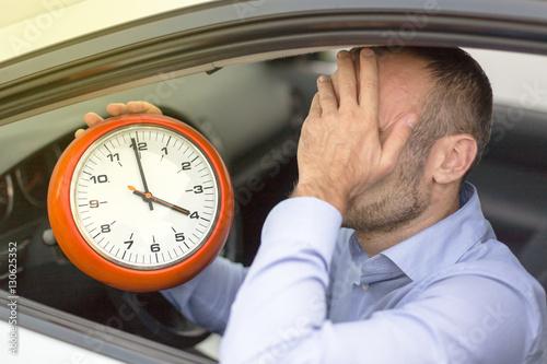 Fotografie, Obraz  Businessman late stuck in traffic