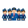 Pilot and stewardess icon. Airport travel trip and tourism theme. Isolated design. Vector illustration