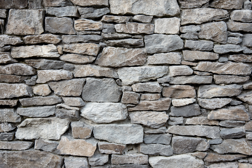 Fototapety, obrazy: Grey stone siding with different sized stones