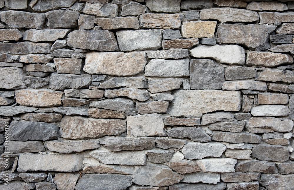 Fototapety, obrazy: Grey stone wall with different sized stones, modern siding