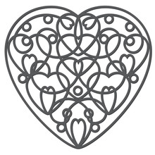 Decorative Wrought Iron Heart. Valentine's Day Card Art. Vector Illustration.