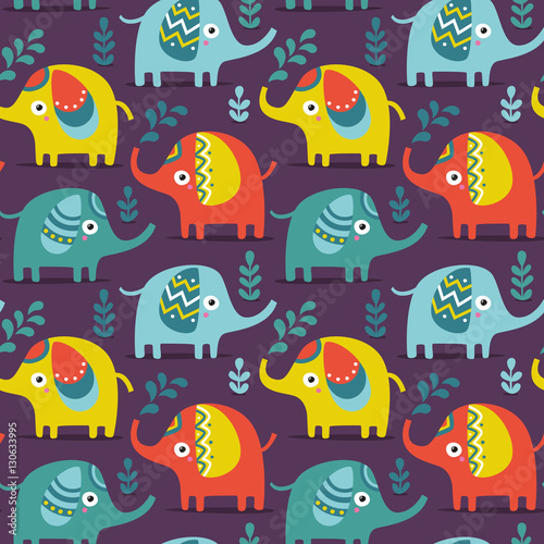 Poster Geometrische dieren Seamless pattern with elephants, plants, jungle