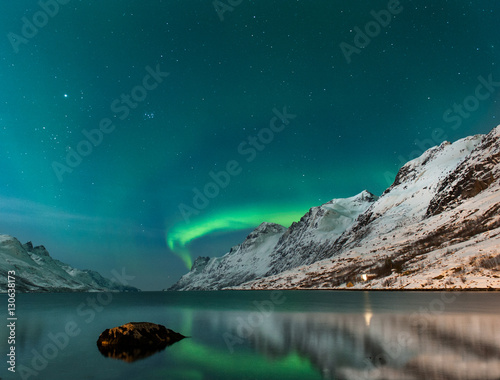 Keuken foto achterwand Groen blauw The polar lights in Norway . Ersfjord