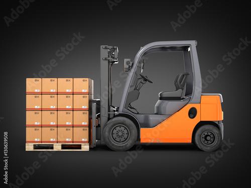 Zdjęcie XXL Wózek widłowy ciężarówka z pudełkami na barłogu na czarnym gradientowym tle