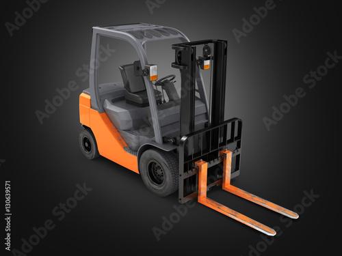 Zdjęcie XXL Forklift ładowacza perspektywiczny widok na czarnym tle 3D