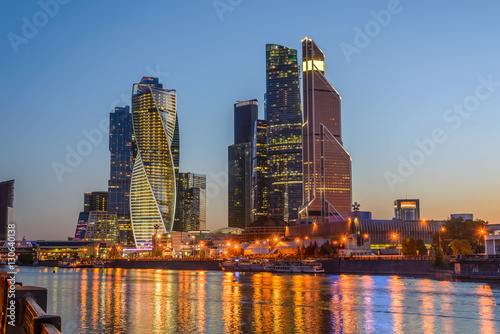 Fotobehang Oceanië Night view of the Moscow City Tower
