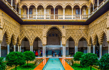 Courtyard Of Royal Alcazar Palace, Sevilla, Spain
