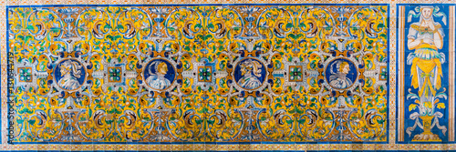 Poster Imagination detail of a mosaic made of azulejos - tiles for which is andalusia region in spain famous, situated inside of the real alcazar palace in the spanish city sevilla.