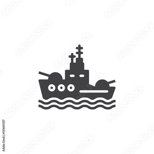 Fotografia Battleship icon vector, filled flat sign, solid pictogram isolated on white