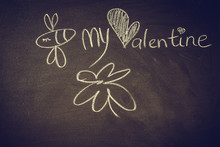 Hand Drawing With Chalk On Blackboard, Cute Kawaii Bee, Heart And Words Be My Valentine, Template For Greeting Card, Poster, Wallpaper, St. Valentines, Romantic