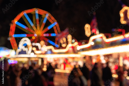 Poster Amusement Park Blurred festive lights of Winter Wonderland for background use
