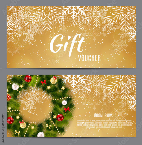 Keuken foto achterwand Christmas and New Year Gift Voucher, Discount Coupon Template Ve