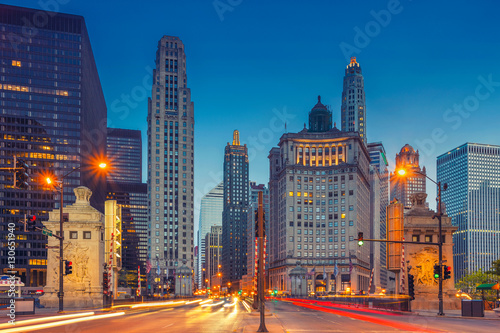 Poster Chicago Chicago. Cityscape image of Chicago downtown with Michigan Avenue.