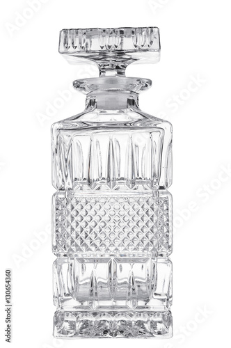 Empty crystal decanter on white background Wallpaper Mural