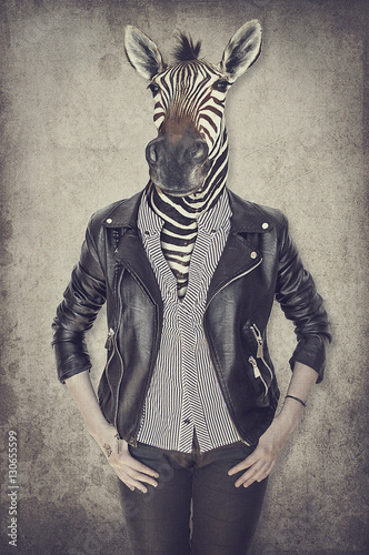 Poster de jardin Animaux de Hipster Zebra in clothes. Concept graphic in vintage style.