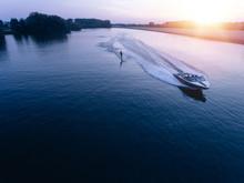 Man Water Skiiing On Lake Behi...