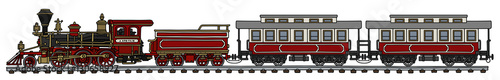 Fotografie, Obraz Old american steam train