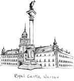 Ręcznie rysowane Zamek Królewski w Warszawie na białym tle - 130659590