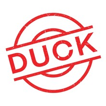 Duck Rubber Stamp. Grunge Design With Dust Scratches. Effects Can Be Easily Removed For A Clean, Crisp Look. Color Is Easily Changed.