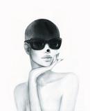 Piękny portret kobiety. Streszczenie ilustracja akwarela moda - 130665185