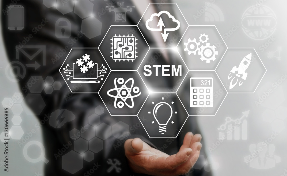 Fototapeta Business STEM concept. Science Technology Engineering Math education web icon. Man offer stem word sign on virtual screen.