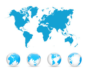 Fototapeta na wymiar World Map and Globe Detail Vector Illustration, EPS 10.