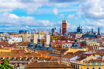 aerial view of madrid taken from the top of the almudea cathedral in madrid