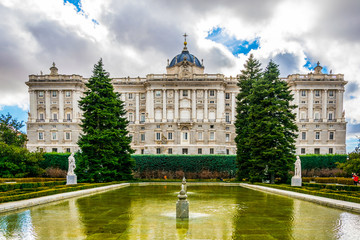 Royal Palace in Madrid, Spain viewed from the jardines de sabatini - de sabatini gardens.