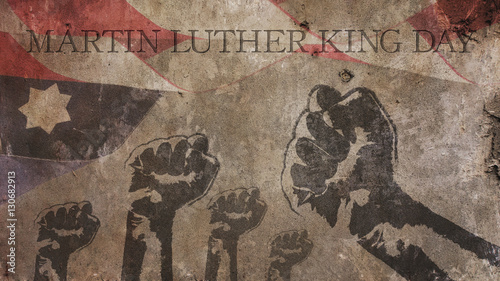Martin Luther King Day. Flag Concrete and Fists Canvas Print