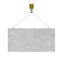 Rendering Of Concrete Slab Hanging On Hook With Two Ropes
