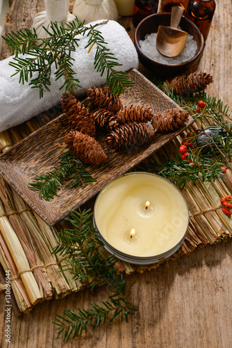 Deurstickers Spa Spa treatment with Christmas decorations