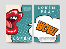 Pop Art Style Brochure Flyers Template Design With Wow Speech Bubble. Vector Illustration