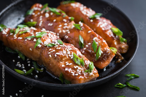 teriyaki salmon, dark background