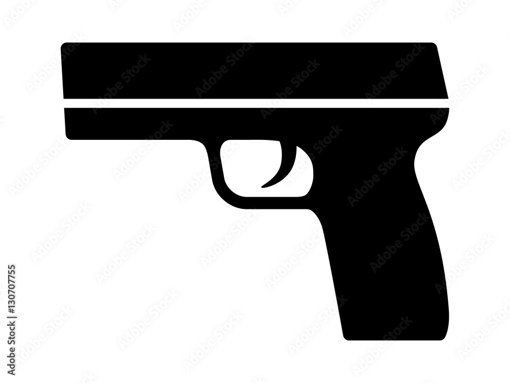Fototapeta Modern semi automatic pistol gun weapon flat icon for games and websites
