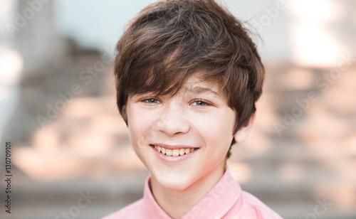Smiling Teen Boy 14 16 Year Old Having Fun Outdoors Looking At