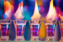 Hot Shot Glasses Standing In A Row On Bar Counter