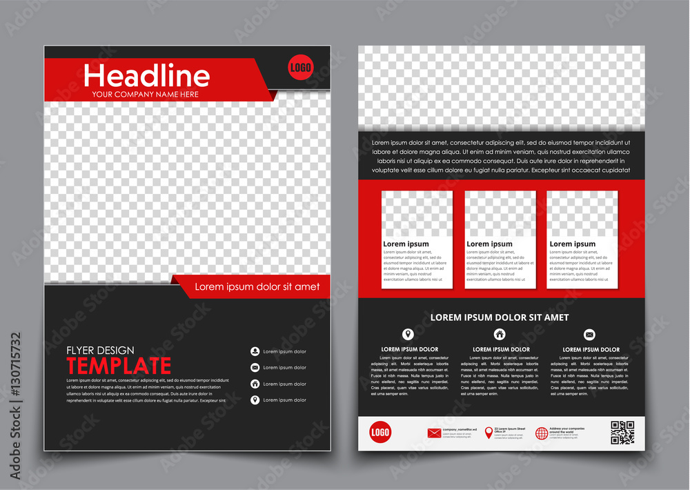 Fototapeta Template flyer black with red elements for printing.