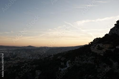Spoed Foto op Canvas Grijze traf. Toulon - Coucher de soleil
