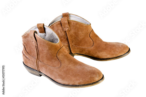 eab80451db4 woman brown leather cowboy boots. Womens brown suede fashion boots isolated.  Shot in studio on a white background.