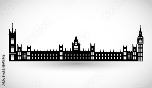 Fotografía  London Parliament and Big Ben silhouette vector