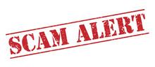Scam Alert Red Stamp On White Background