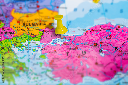Fototapety, obrazy: Istanbul city in Turkey pinned on colorful political map of europe. Geopolitical school atlas. Tilt shift effect.