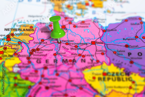Fototapeta hannover in Germany pinned on colorful political map of Europe