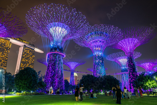 Singapore - October 23, 2016: Colorful of lighting show in Singa Canvas Print