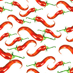 Panel Szklany Podświetlane Przyprawy Red Hot Chili Pepper. Seamless Vintage watercolor pattern. Red and green vegetables