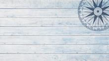 Maritimer Kompass Auf Holz-Hintergrund